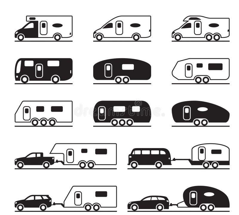 Caravana e campistas diferentes ilustração royalty free