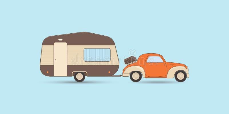 Caravana e carro de acampamento do vintage ilustração stock
