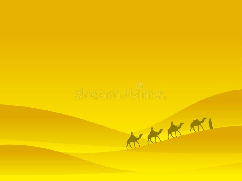 Caravana en el desierto La gente en camellos se mueve en las dunas de arena Desierto de Judean Vector libre illustration