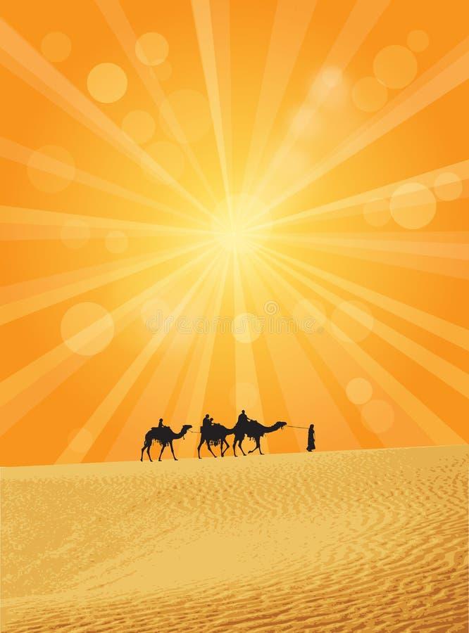 Caravana en Sáhara stock de ilustración
