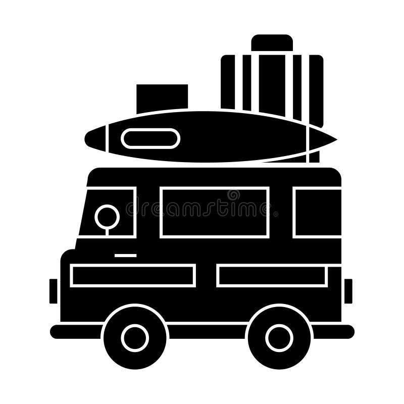 caravana, icono del remolque del viaje que acampa, ejemplo del vector, muestra en fondo aislado ilustración del vector