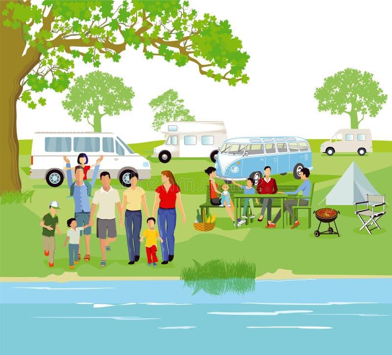 Caravana no local de acampamento ilustração stock