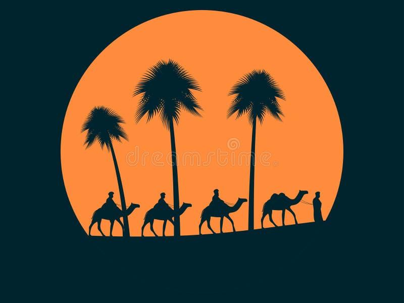 Caravane de chameau contre le coucher du soleil Palmiers sur le fond du soleil Vecteur illustration libre de droits