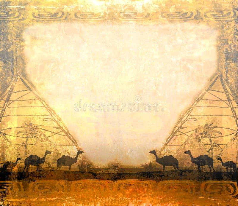 Caravane de chameau en Afrique sauvage illustration libre de droits