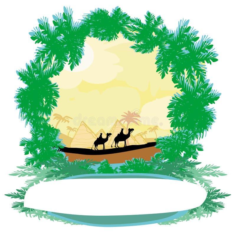 Caravane de chameau en Afrique sauvage illustration stock