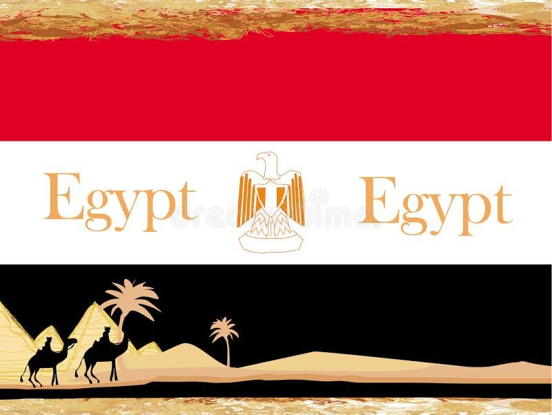 Caravane de chameau en Afrique sauvage - drapeau de l'Egypte, carte abstraite illustration de vecteur