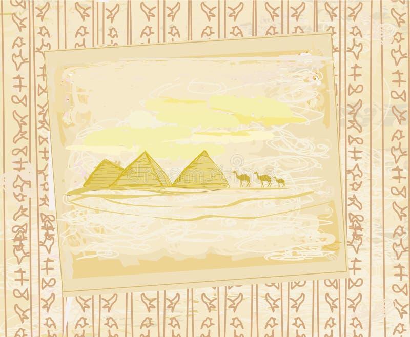 Caravane de chameau en Afrique sauvage - texture grunge abstraite illustration stock