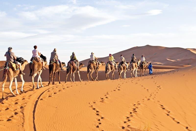 Caravane de chameau passant par les dunes de sable