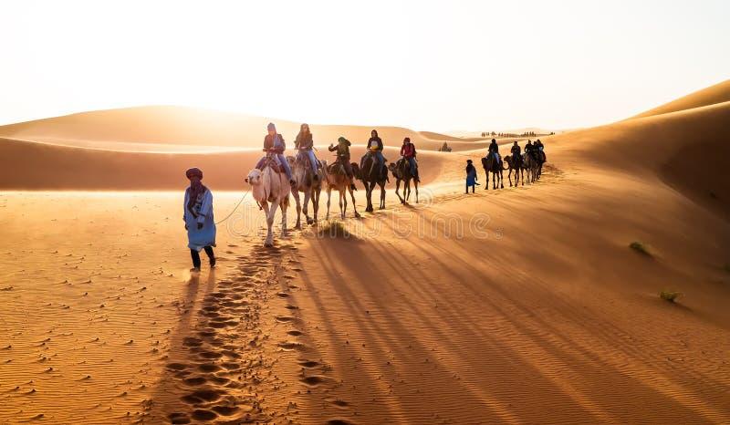 Caravane marchant dans Merzouga photo stock