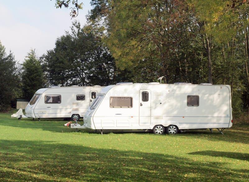 Caravans on camp site stock images