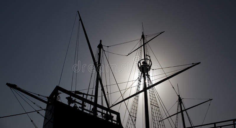 Caravel. Silhouette of an old Portuguese caravel replica royalty free stock photos