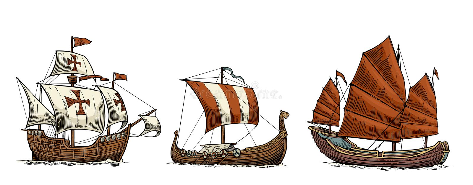 Caravel, drakkar, junk. Set sailing ships floating sea waves. stock illustration