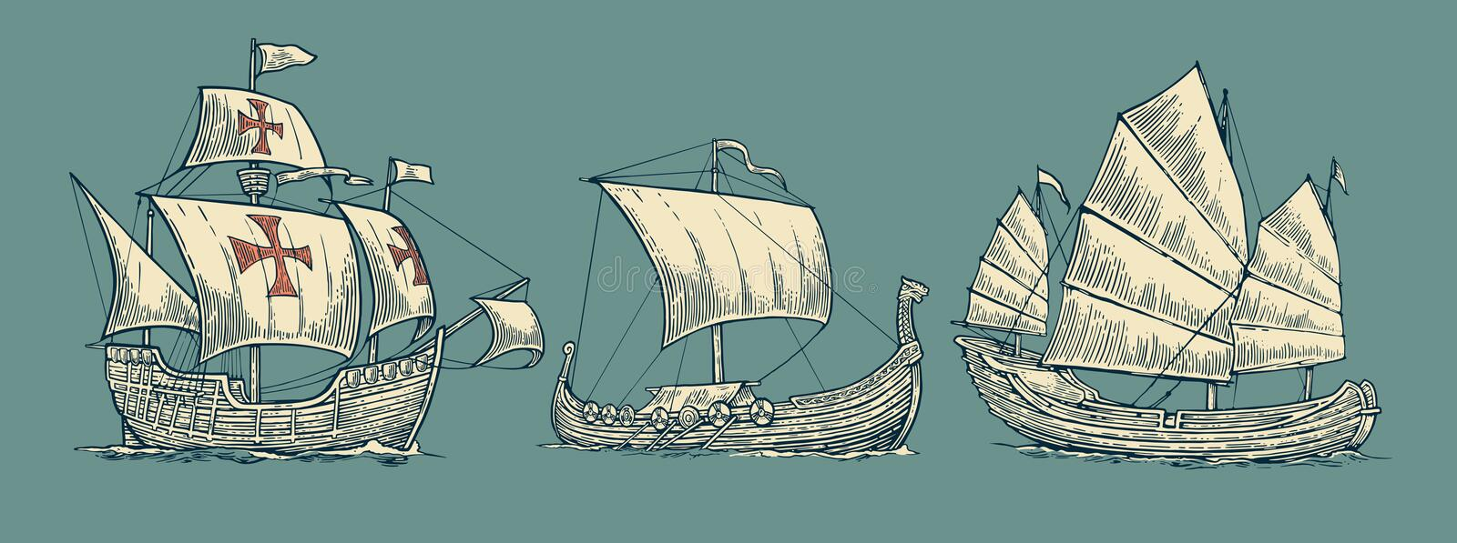 Caravel, drakkar, junk. Set sailing ships floating on the sea waves stock illustration
