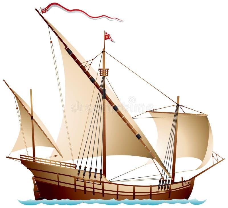 Caravel, een varend schip vector illustratie