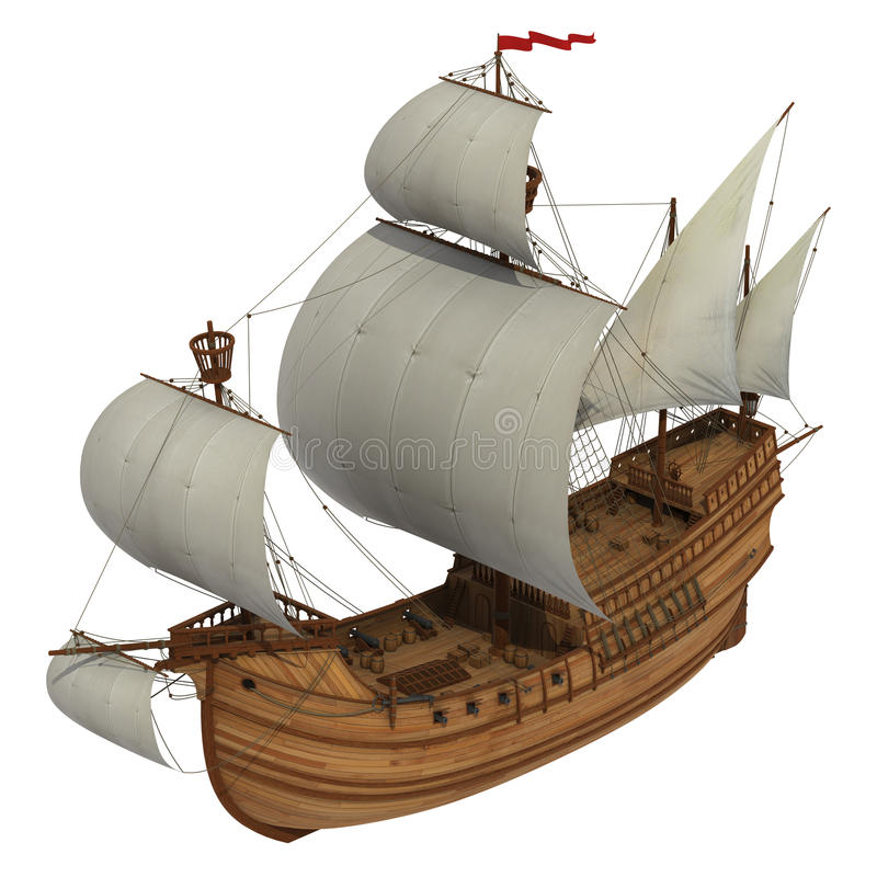 Free Caravel Over White Background Royalty Free Stock Photo - 64779785