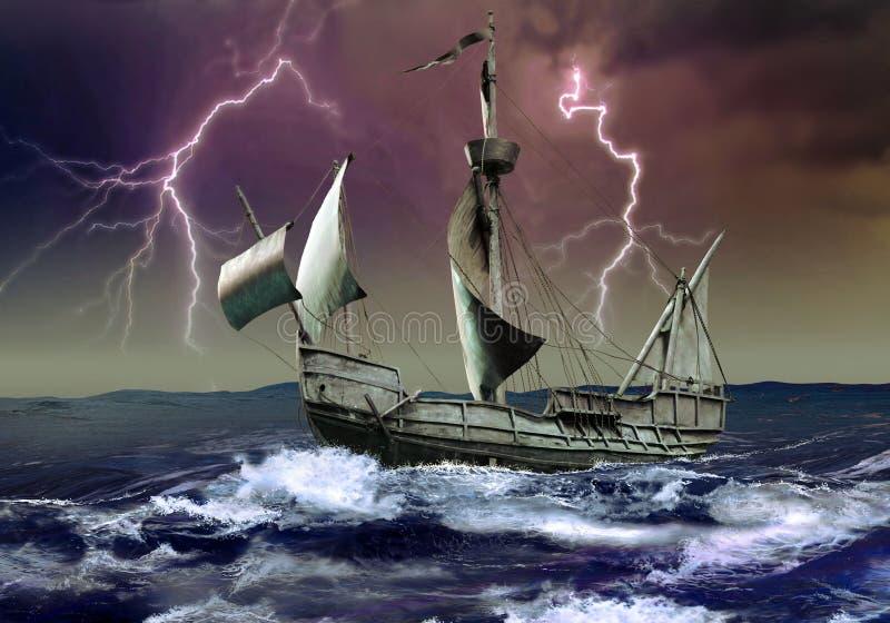 Caravel sous la tempête illustration libre de droits