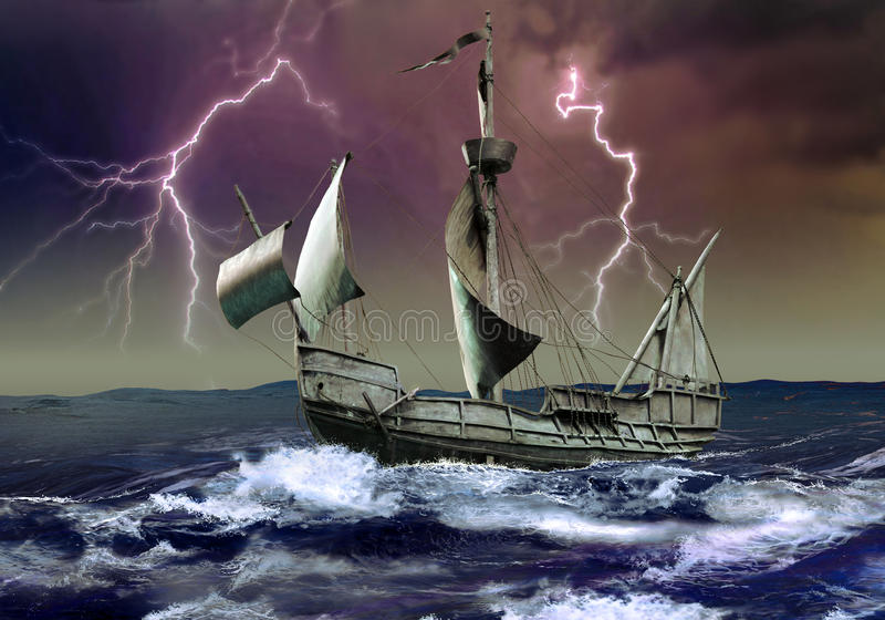 Download Caravel under the storm stock illustration. Illustration of sail - 20625798