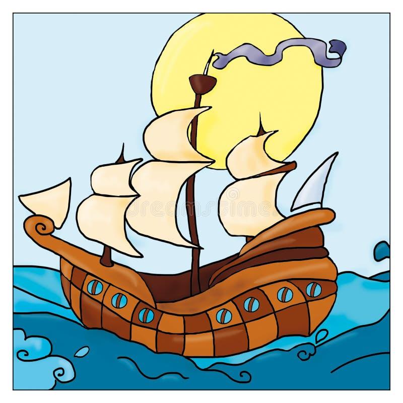 Caravella nel mare con le vele, nave di navigazione illustrazione di stock