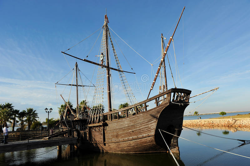 Caravelle di Christopher Columbus, La Rabida, provincia di Huelva, Spagna fotografia stock