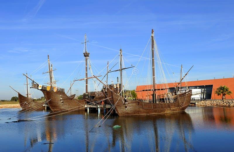 Caravelle di Christopher Columbus, La Rabida, provincia di Huelva, Spagna immagini stock libere da diritti
