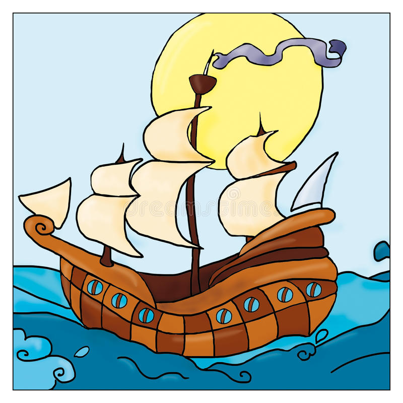 Caravelle en mer, ` s comique, aventure d'enfants pour des garçons illustration de vecteur