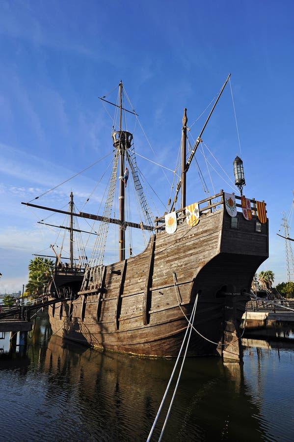 The caravels of Christopher Columbus, La Rabida, Huelva province, Spain stock photo