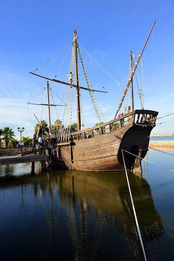 Caravels de Christopher Columbus, La Rabida, provincia de Huelva, España fotos de archivo libres de regalías