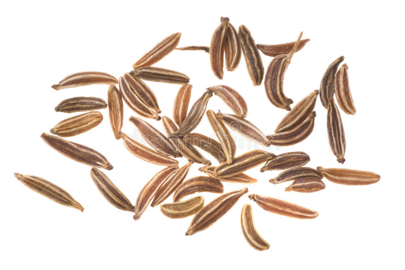 Caraway seeds. On a white background royalty free stock photos