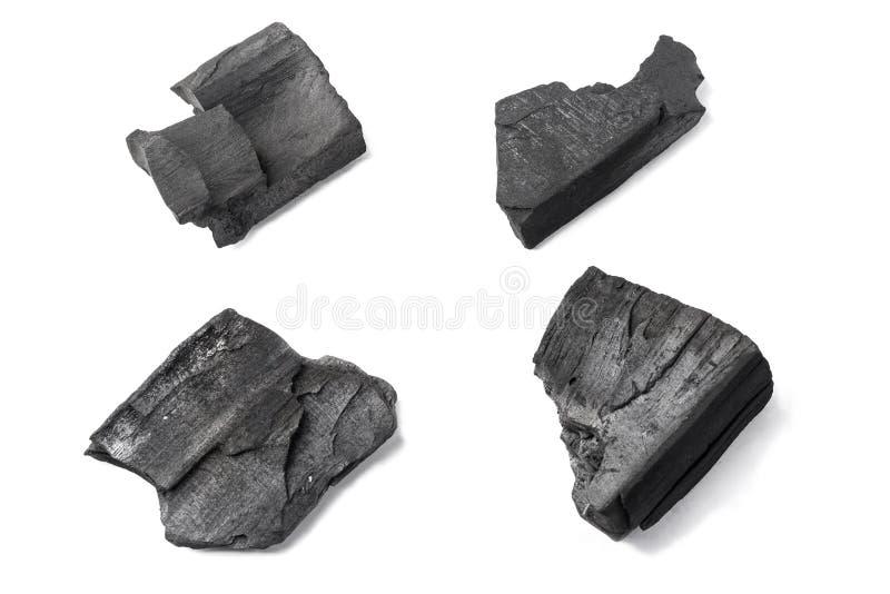 Carbón aislado cerca para arriba imagenes de archivo