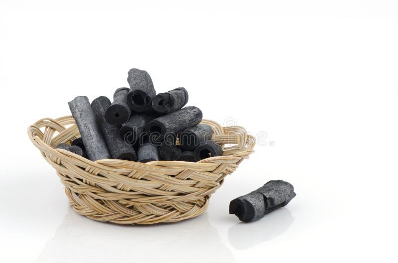 Carbón de leña de bambú imagenes de archivo