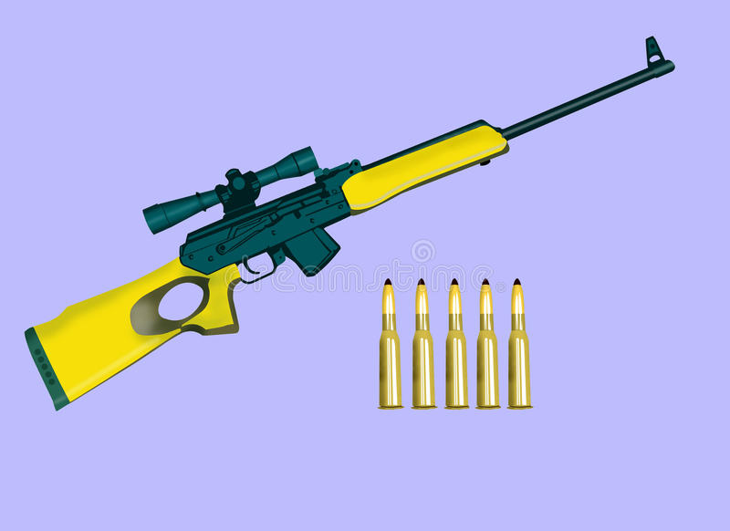 Carbine with patron vector illustration