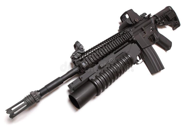Carbine tattico dell'esercito americano M4A1 con louncher M203. fotografie stock libere da diritti