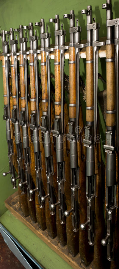 Carbines. A general view of the old fighting weapon - rifle based on the Mosin rifle stock photo