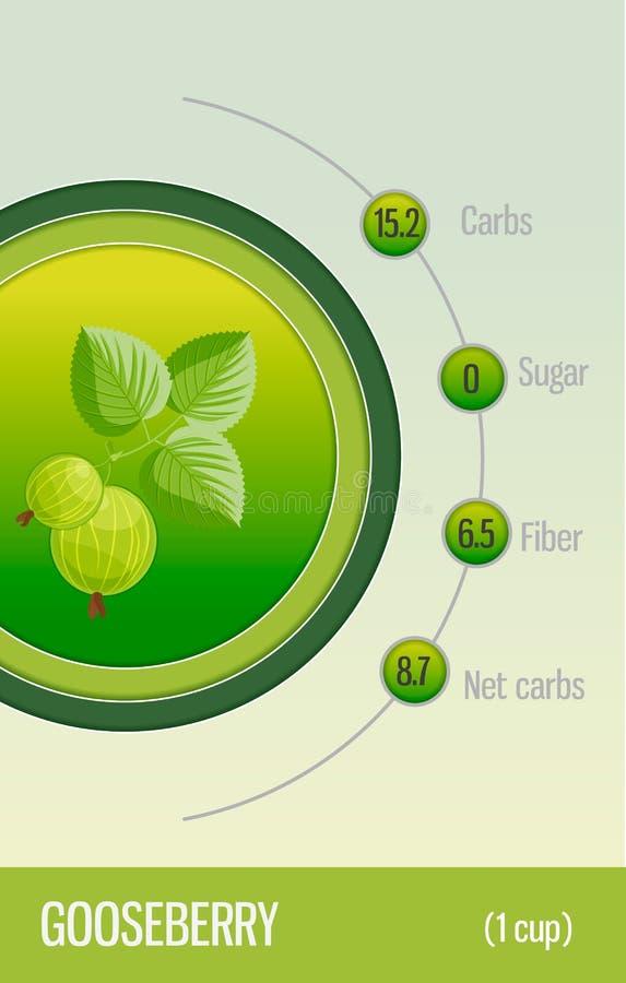 Carbohidratos, azúcar y fibra de la tarjeta en frutas gooseberry Información para los dietético y los diabéticos Forma de vida sa stock de ilustración
