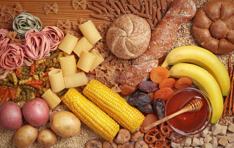 Carbohydrate. Foods high in carbohydrate close up royalty free stock images