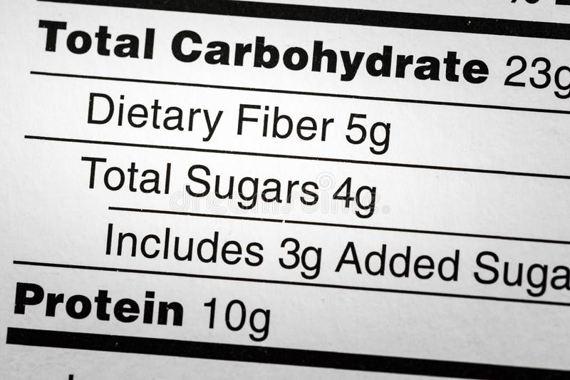 Carbohydrate dietary fiber sugars label diet. Carbohydrate carbohydrate dietary fiber sugars health label food nutrition facts protein total added sugar stock photo