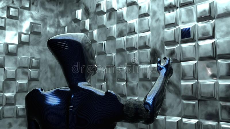 Carbon alien chooses his element. Future. carbon alien chooses his element in special room vector illustration
