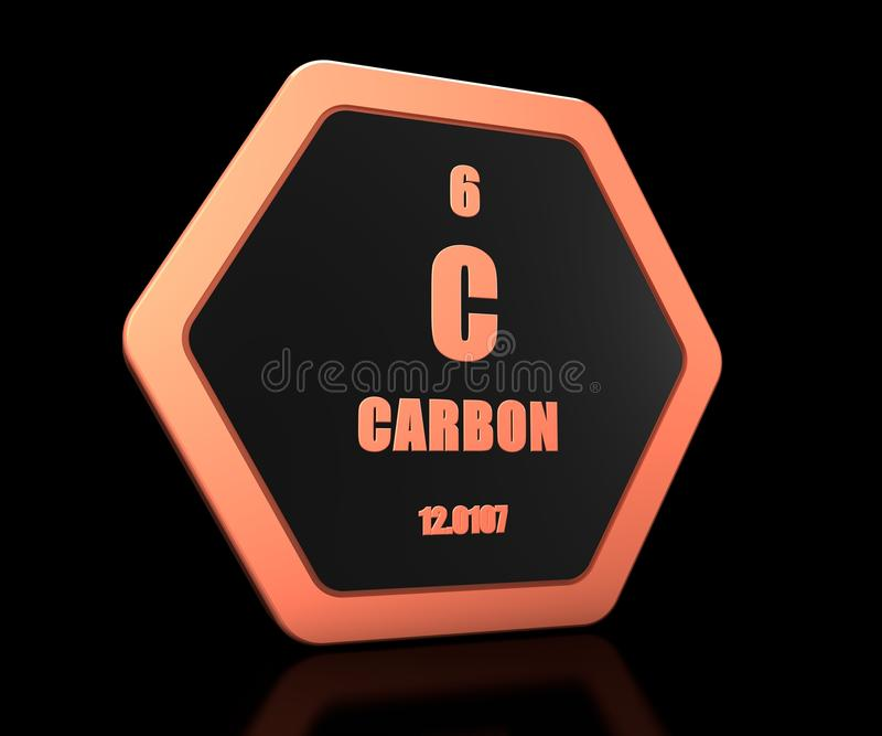 Carbon chemical element periodic table symbol stock illustration