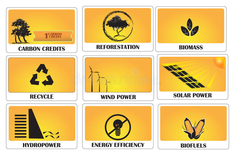 Carbon credits. Earning carbon credits by using green energy stock illustration