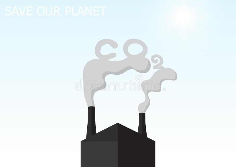 Carbon dioxide CO2 smoke from chimney of silhouette factory on blue sky background,environmental pollution co2 emission concept stock illustration