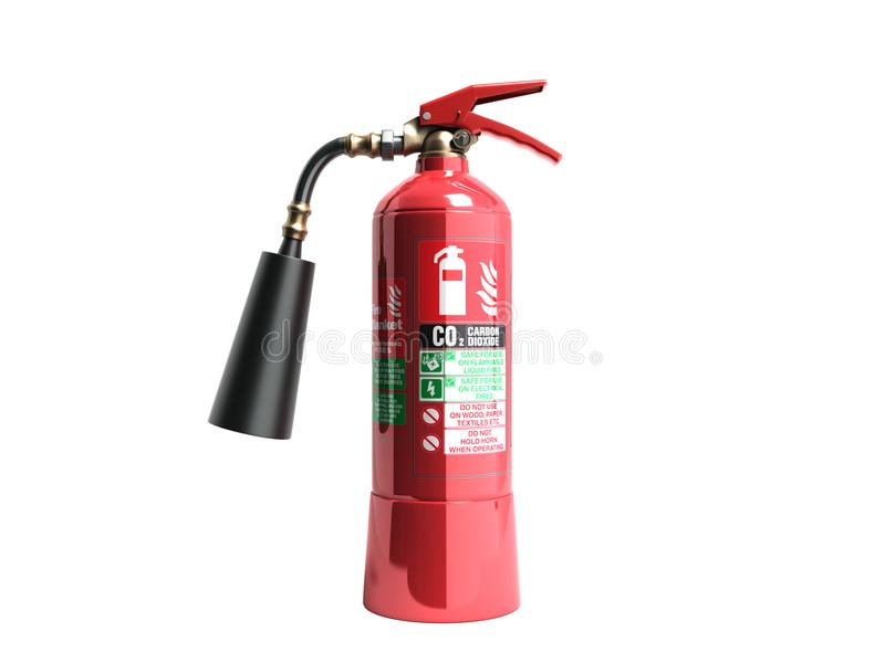 Carbon dioxide fire extinguisher 3d render on white background n. O shadow stock photo