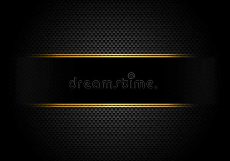 Carbon fiber background and texture and lighting with black label and gold line. Luxury style. Material wallpaper for car tuning royalty free illustration