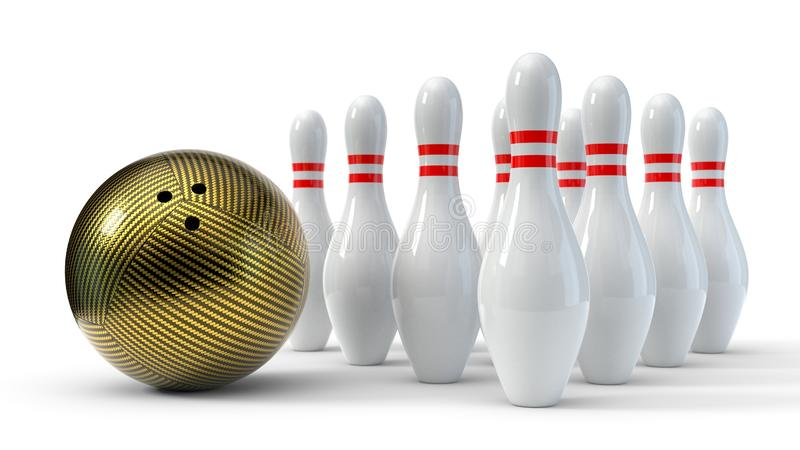 Carbon fiber bowling ball with pins. isolated on white background. 3d illustration royalty free illustration