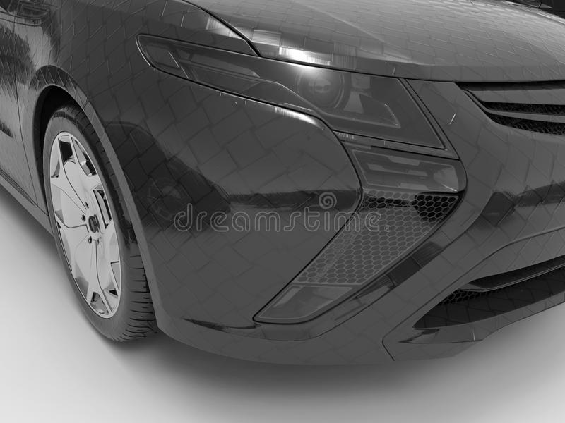 Carbon fiber car concept. 3D render illustration of a car made of carbon fiber stock illustration