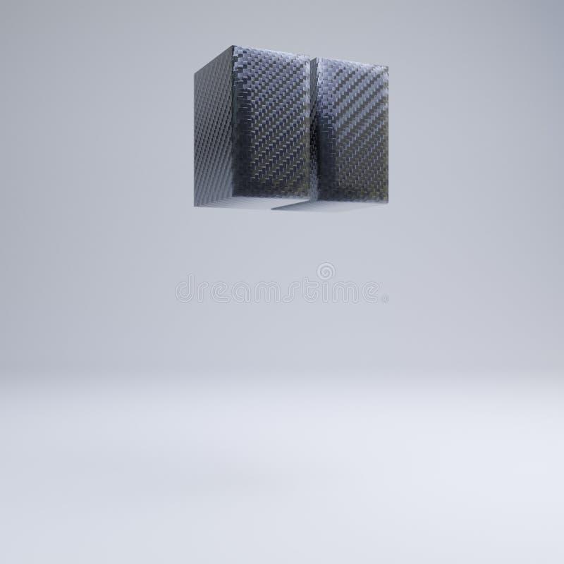 Carbon fiber 3d double quotes symbol. Black carbon font isolated on white background. Carbon fiber double quotes symbol isolated on white. 3D rendered black stock illustration