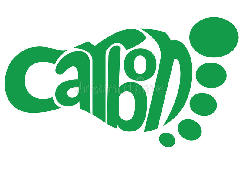Carbon Footprint. Vector illustration of green text in the form of a carbon footprint