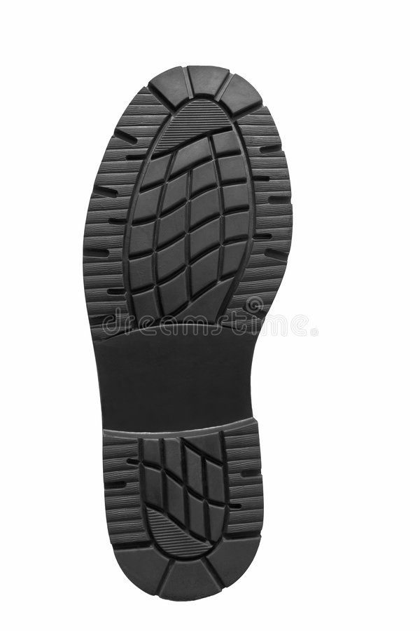 Carbon footprint. Rubber soled shoe carbon footprint royalty free stock photos