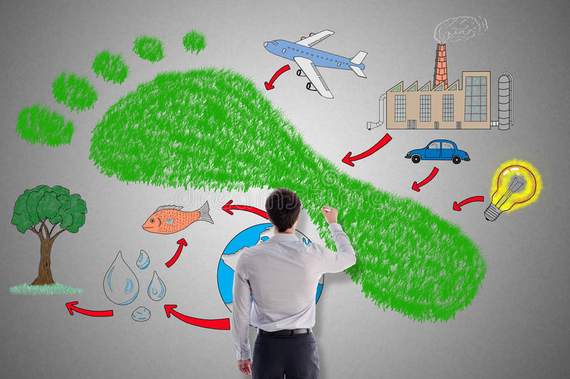 Carbon footprint concept drawn by a man. Carbon footprint concept drawn by a businessman stock photo