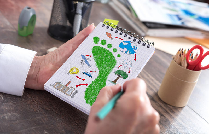 Carbon footprint concept on a notepad. Carbon footprint concept drawn on a notepad royalty free stock photo