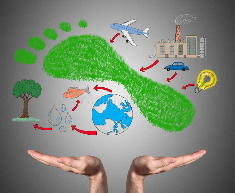 Carbon footprint concept sustained by open hands. Open hands sustaining carbon footprint concept stock image